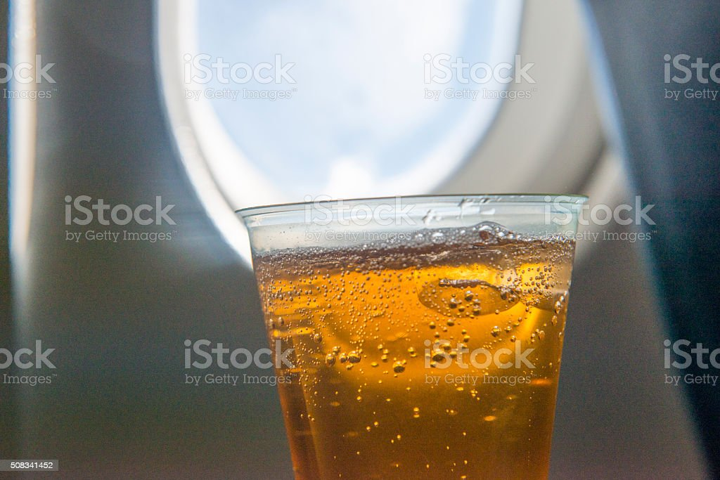 In flight drink on a airplane stock photo