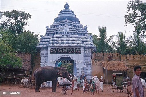 Madhya Pradesh, India, 1976. In front of a Hindu temple. Madhya Pradesh, India, 1976. In front of a Hindu temple. Furthermore: visitors, elephant and entrance portal.