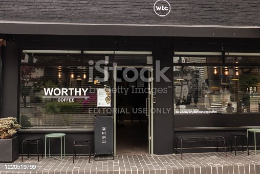 istock In front of a modern cafe 1220519799