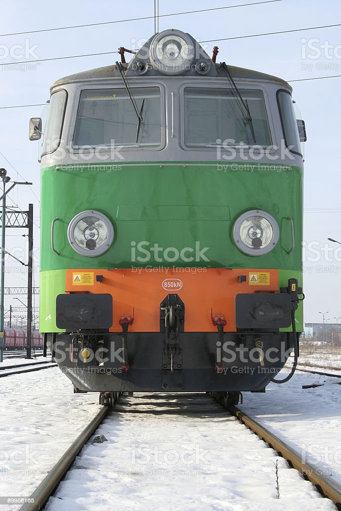 in front of a train electric locomotive royalty-free stock photo