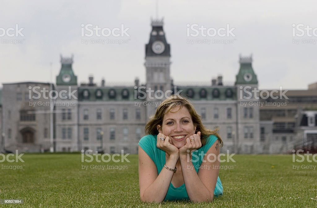 In front of building stock photo