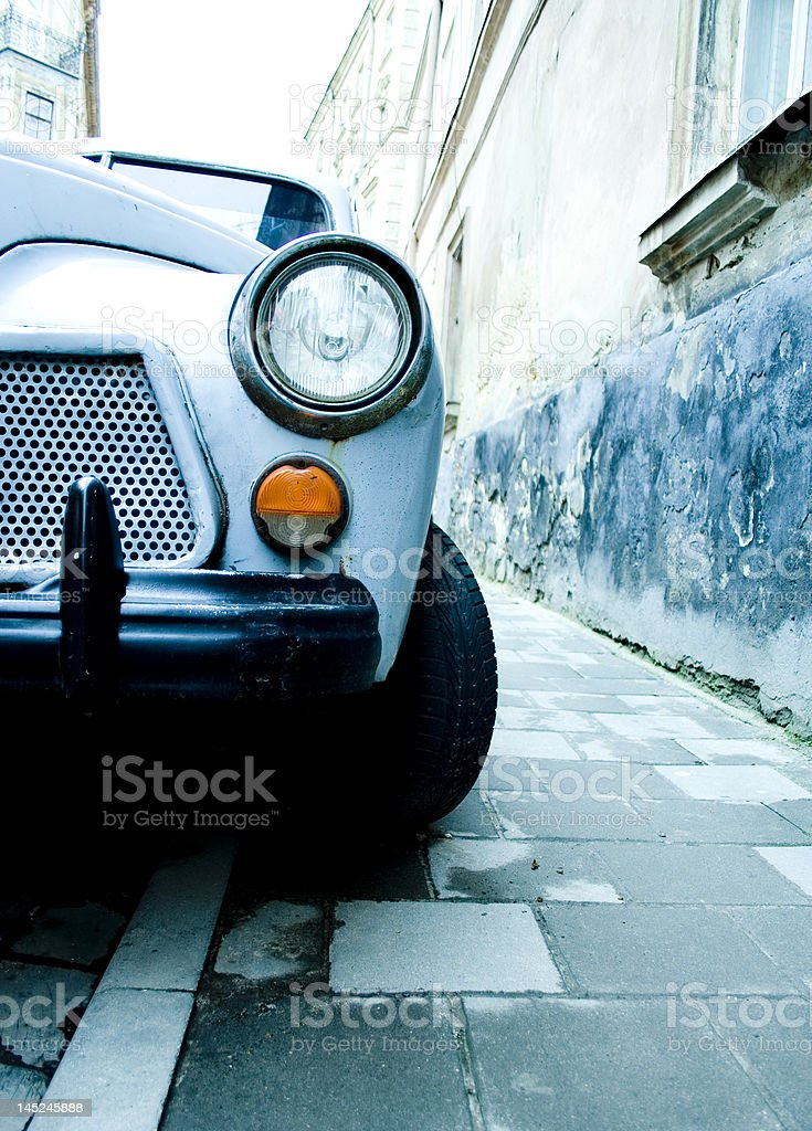 In front of Retrocar royalty-free stock photo