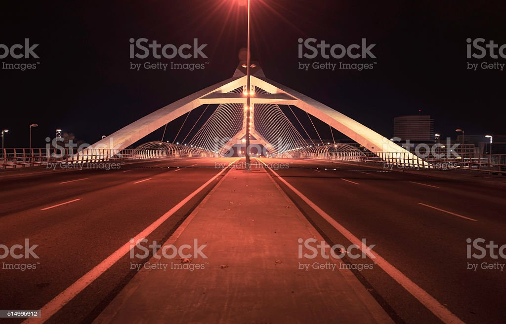 In front of the bridge of the third millennium stock photo