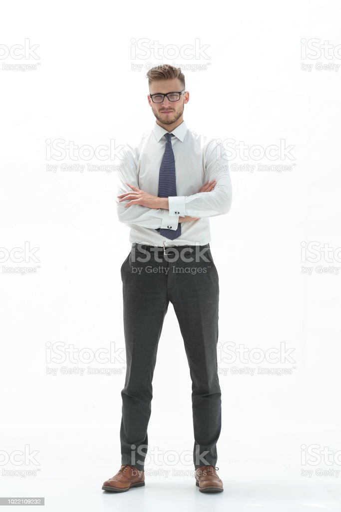 in full growth. confident business man stock photo