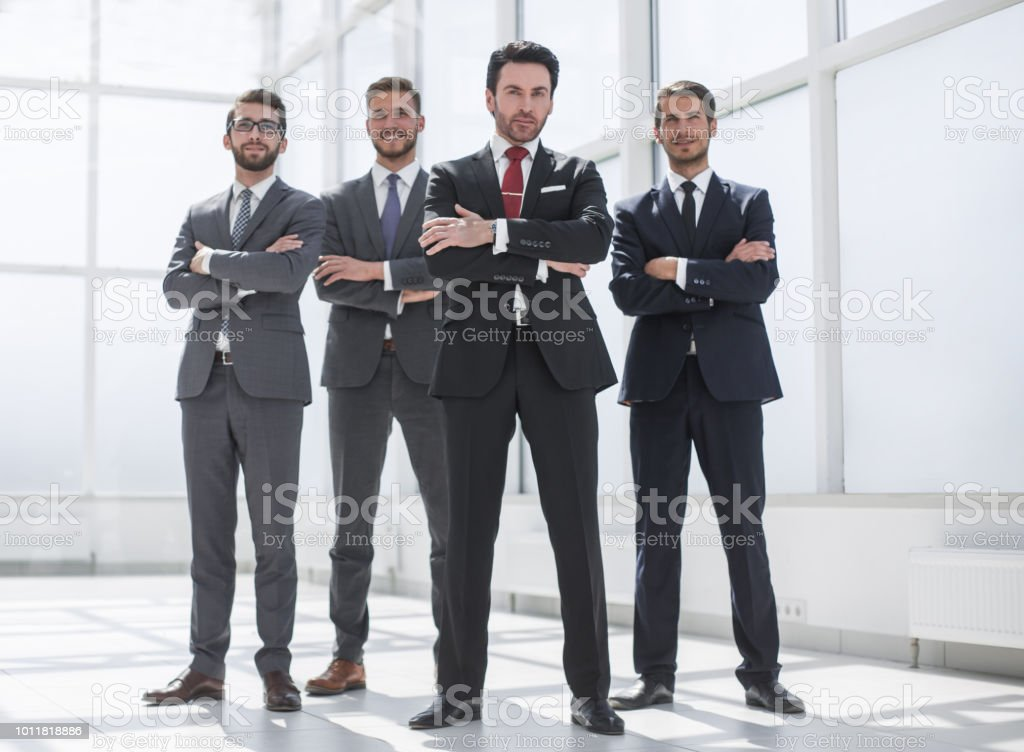 in full growth.a group of confident business people stock photo