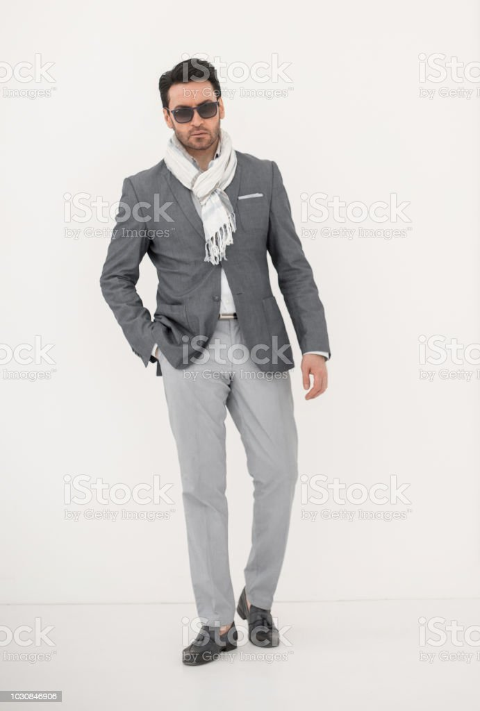 in full growth.stylish business man stock photo