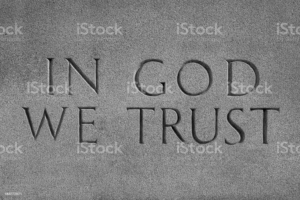 In God We Trust, Chiseled Stone stock photo