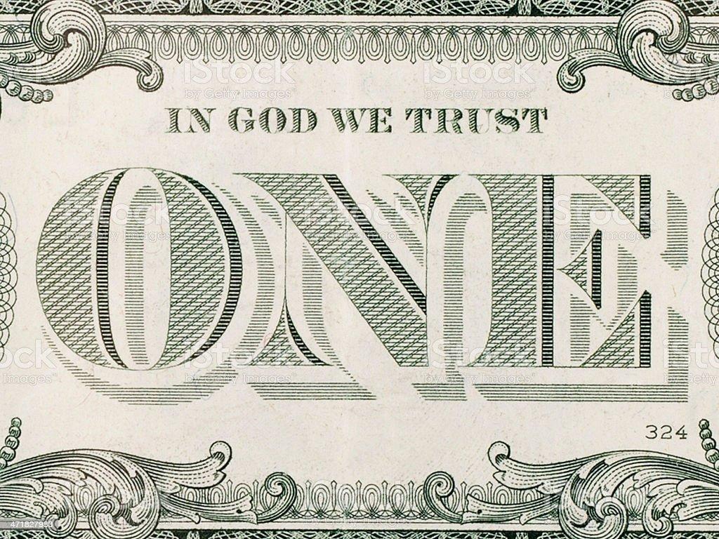 In God We Trust - One Dollar Bill stock photo
