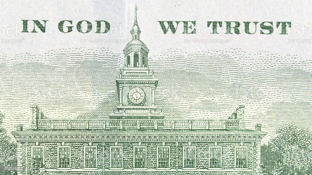 In God We Trust plus Independence Hall hundred dollar bill stock photo