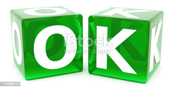 Full 3D render of OK word with 2 dices isolated on white background
