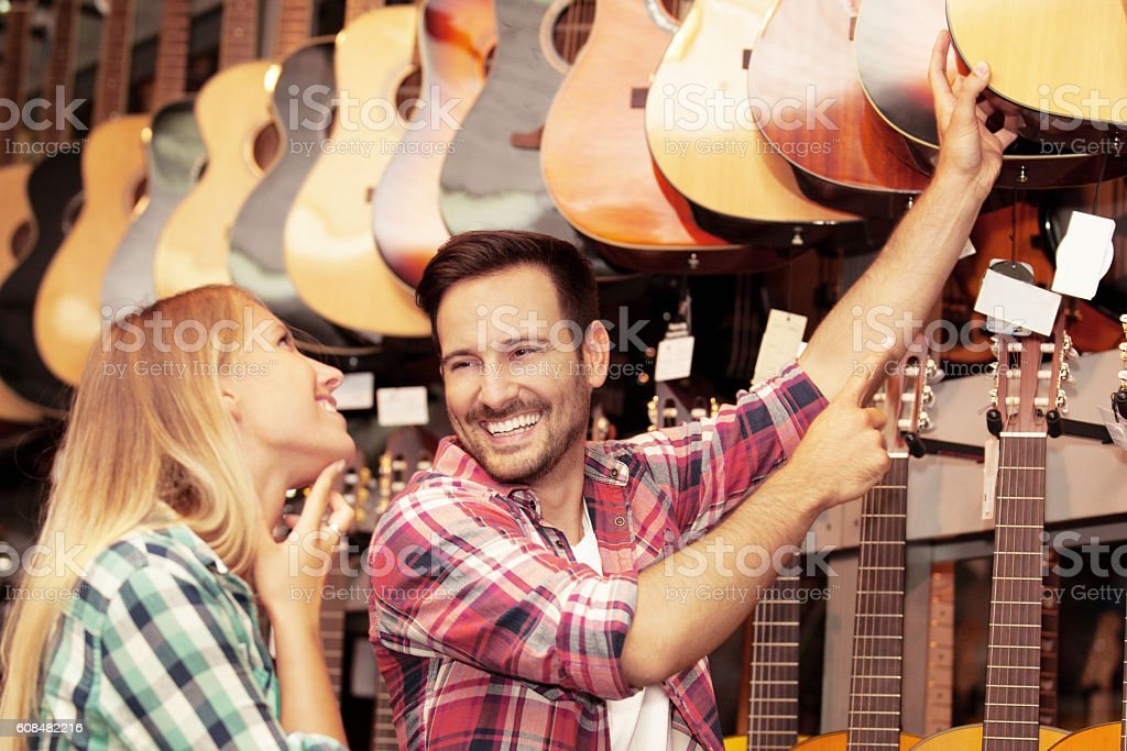 In Guitar Store stock photo