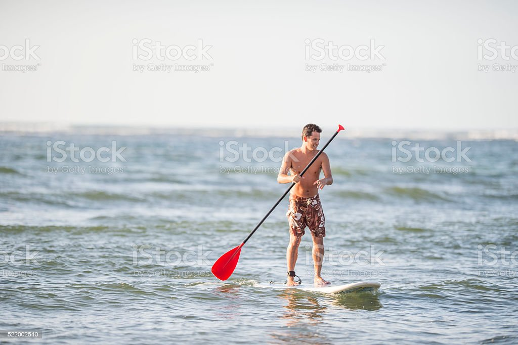 SUP in Hawaii stock photo