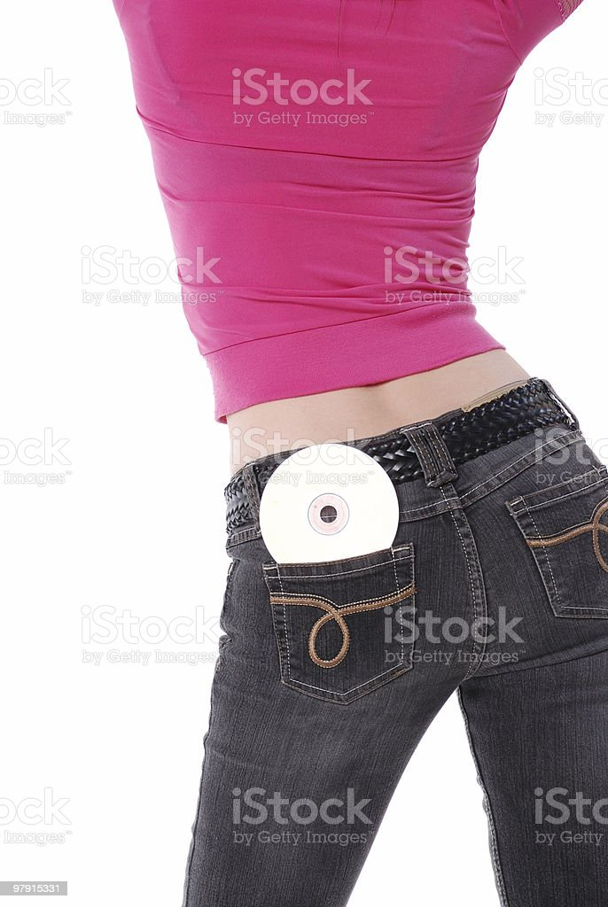CD in her back pocket royalty-free stock photo
