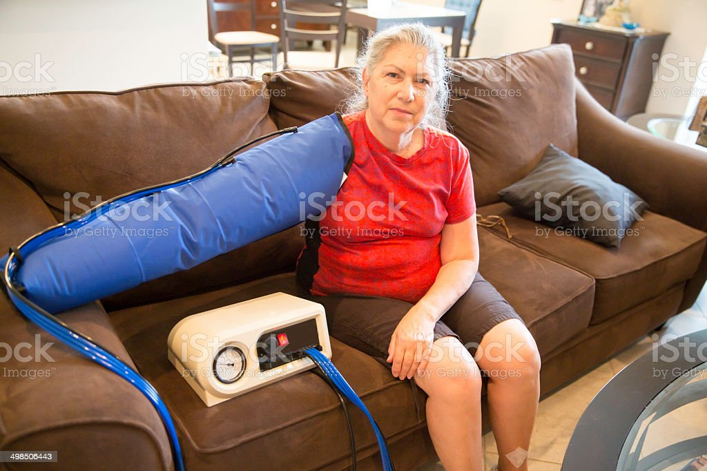 In home lymphodema therapy stock photo