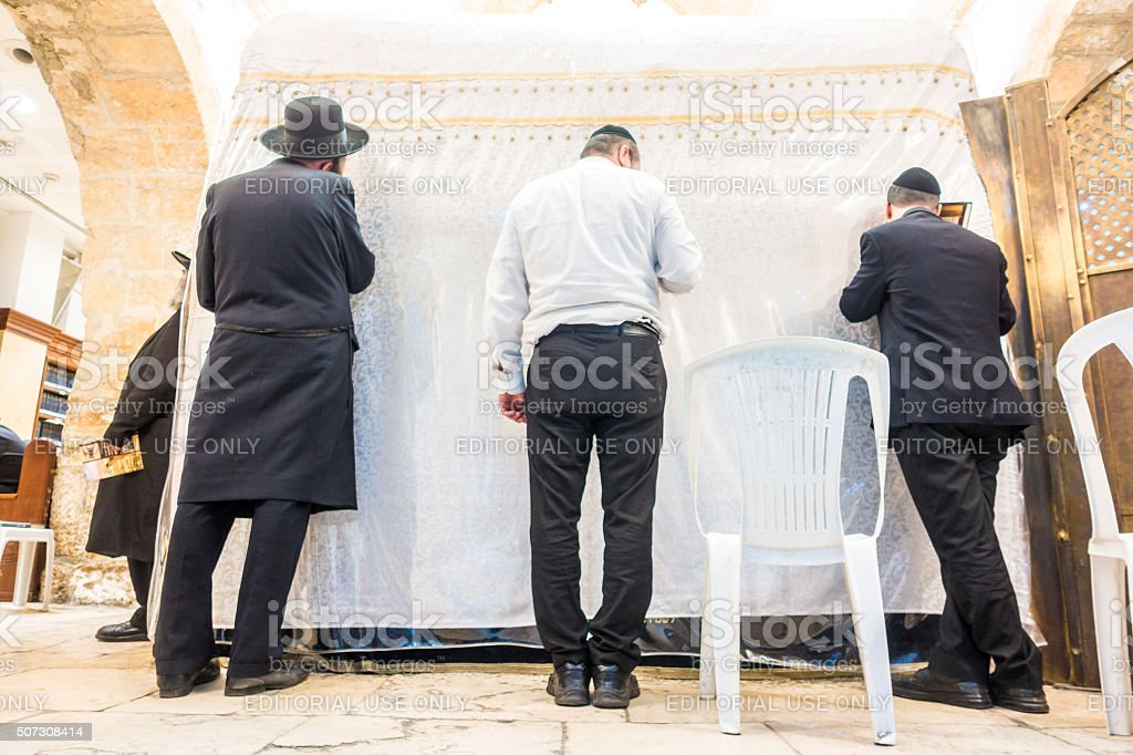 In Jewish synagogue, Jerusalem, Israel stock photo