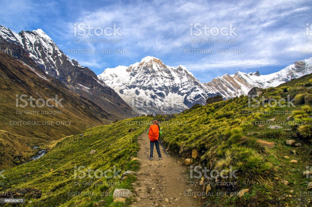 In lap of Annapurna stock photo