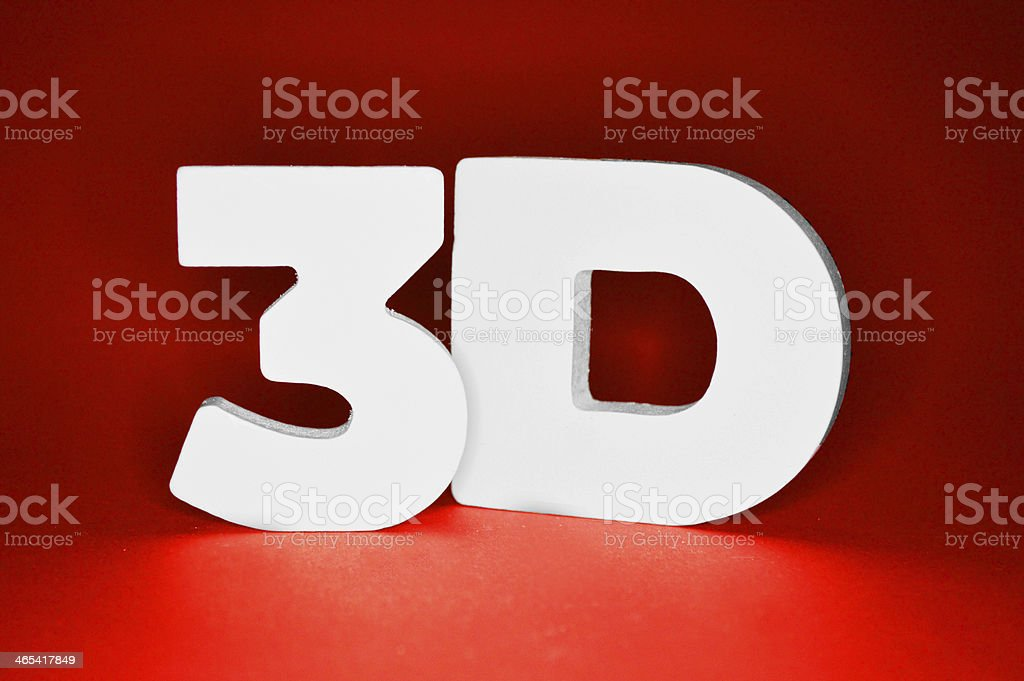 3D in letters on red background royalty-free stock photo