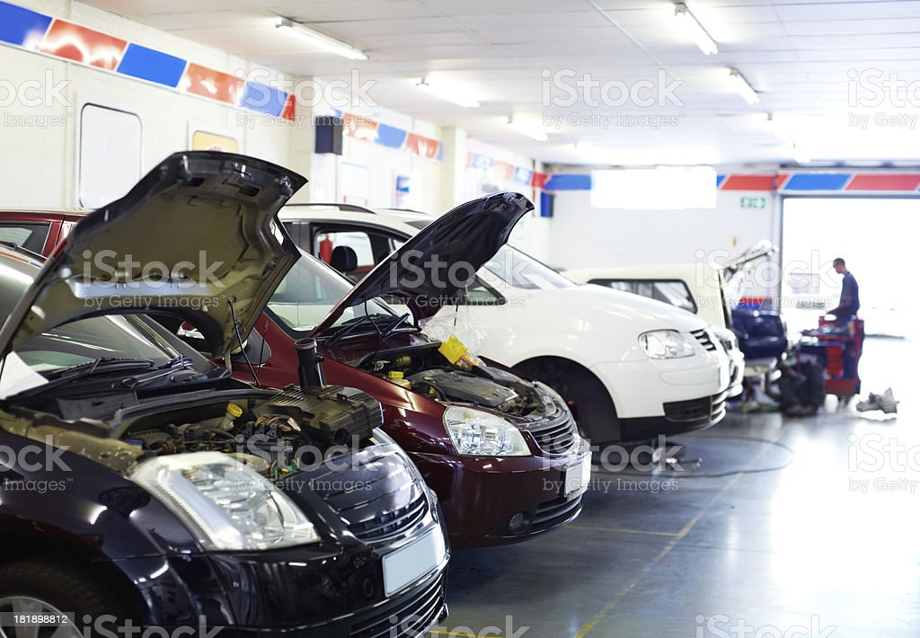 In line for a tune up stock photo