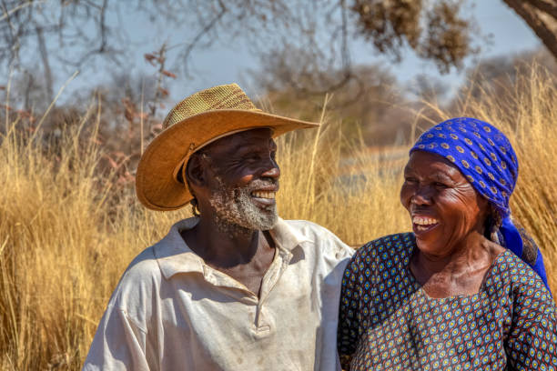 in love African American couple in their eighties and seventies
