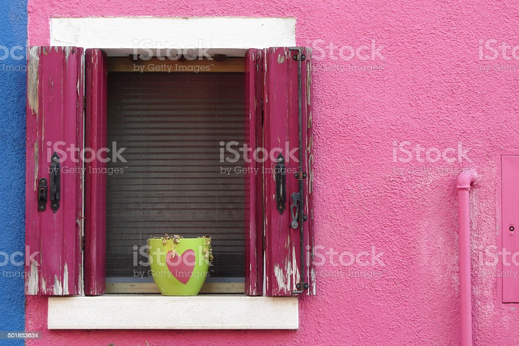 in love, from a Burano island balcony. Venice stock photo