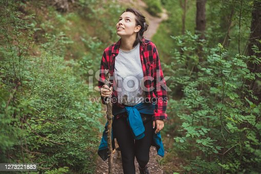 Closeup view of a girl hiking in a plaid shirt and with a blue jacket around her waist. She is holding a big stick in her hand and looking up.