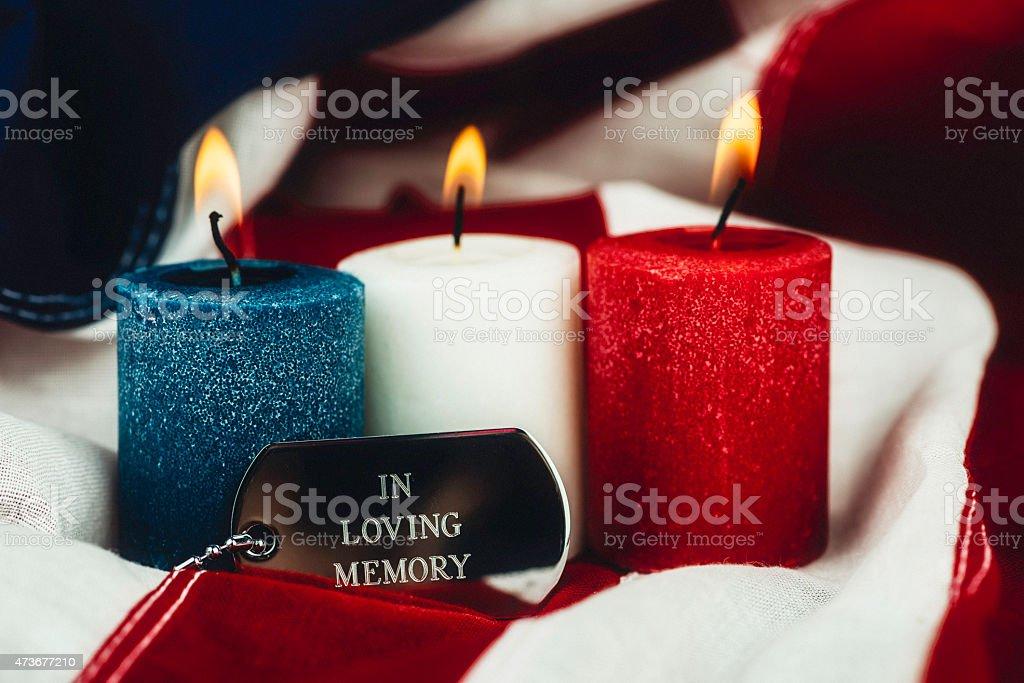 In loving memory. Memorial Day. Veterans Day remembrance message stock photo