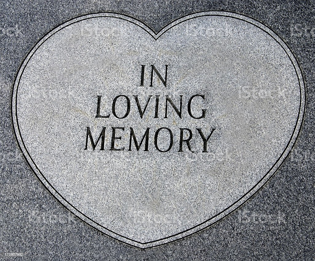 In loving memory, writing on tombstone royalty-free stock photo