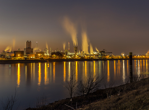 Ludwigshafen, Germany - 9 Oktober 2016: The image shows the production site of BASF, the largest chemical producer in the world.