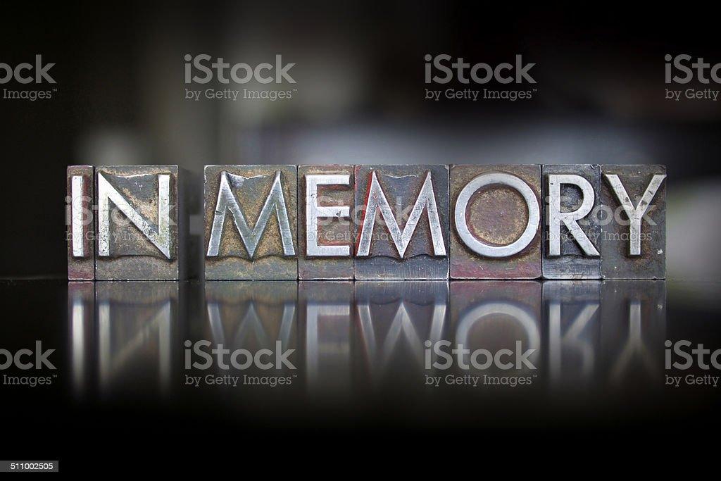 In Memory Letterpress stock photo