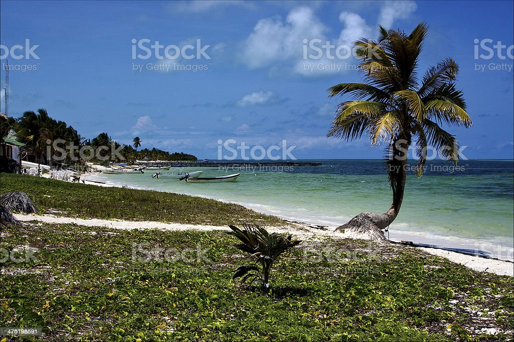 in mexico   the  blue lagoon relax    sian kaan stock photo
