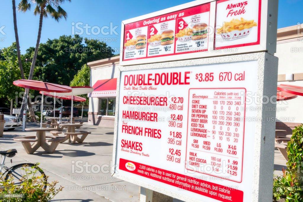 In N Out Burger Restaurant Outdoors Drivethru Menu Stock