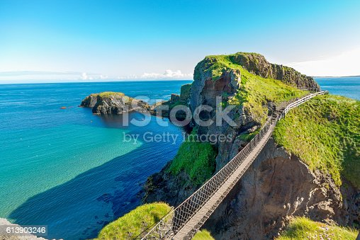 istock in Northern Ireland rope bridge, island, rocks, sea 613903246
