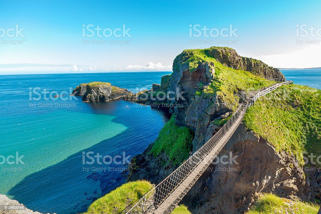 in Northern Ireland rope bridge, island, rocks, sea stock photo