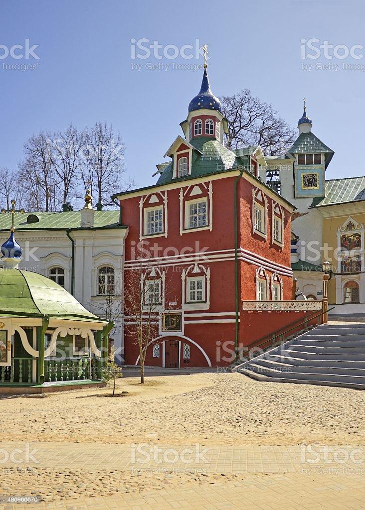 In orthodox monastery in Pskov Region, Russia stock photo