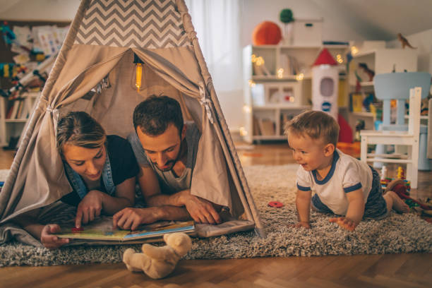 In our boy's wigwam stock photo