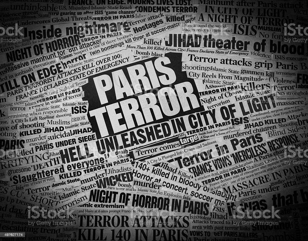 TERROR In Paris Newspaper Headline Collage Royalty Free Stock Photo