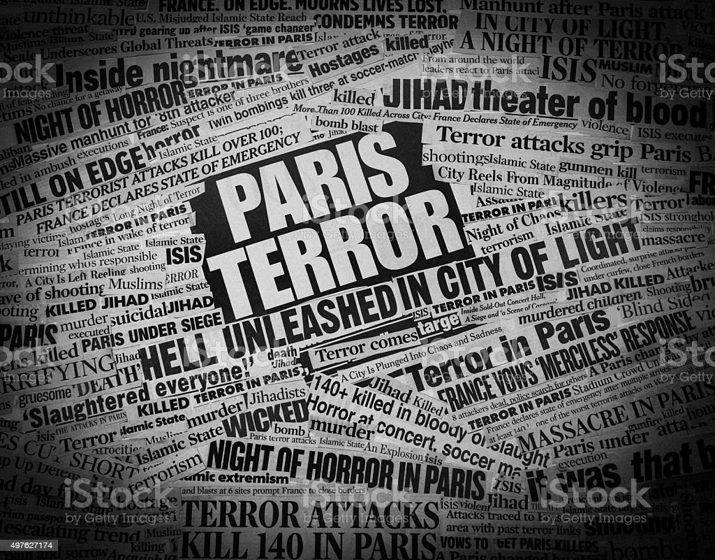 TERROR in Paris Newspaper Headline Collage stock photo