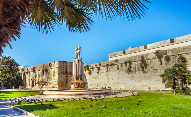In Piazza Filippo Bottazzi, in front of the castle of Charles V. Lecce. Puglia. Italy. stock photo