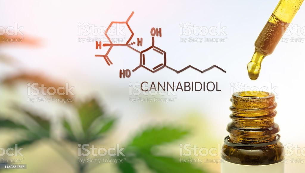 CBD in pipette against Hemp plant and chemical molecule stock photo