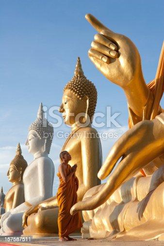 Monk Praying To A Buddha Statue.
