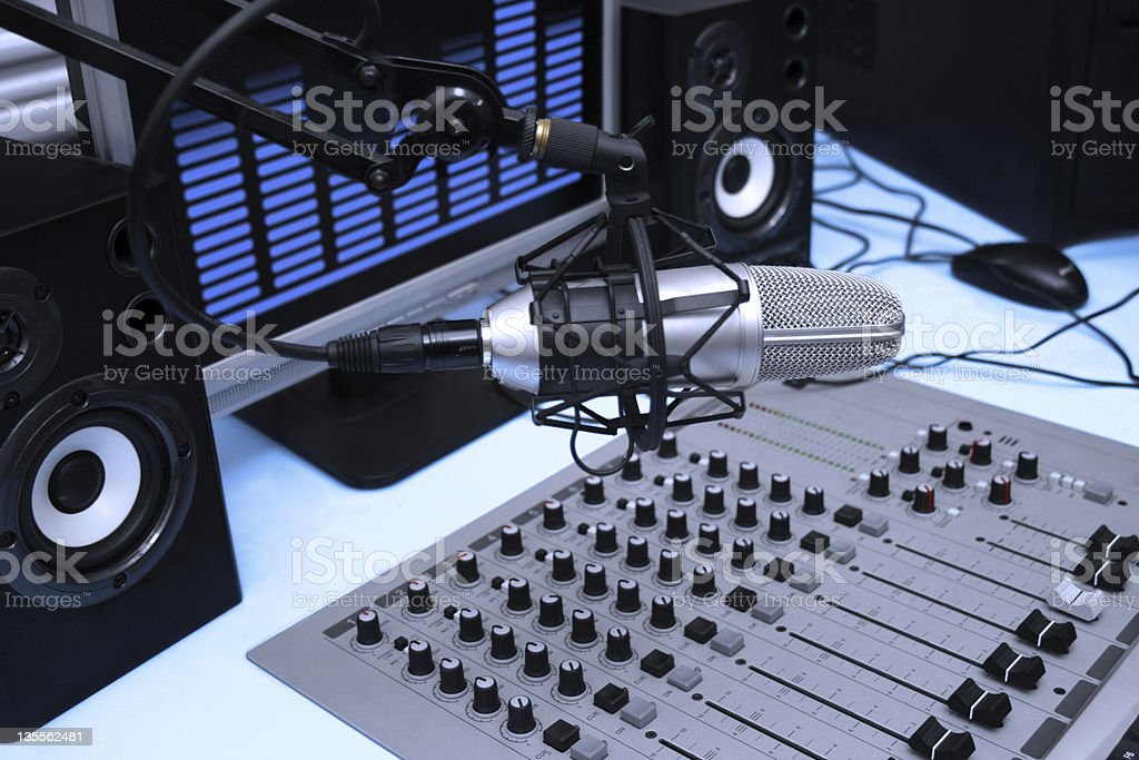 In radio studio royalty-free stock photo