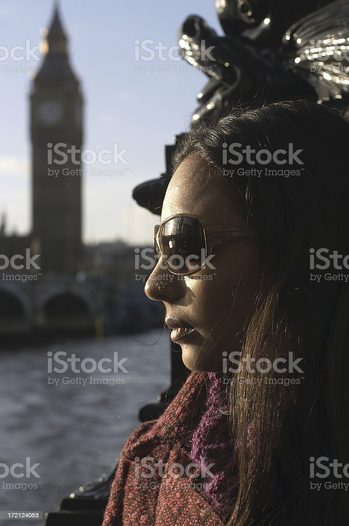 British Asian girl with sunglasses before Big Ben stock photo