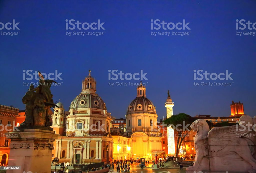 (Piazza Venezia) in Rome at night stock photo
