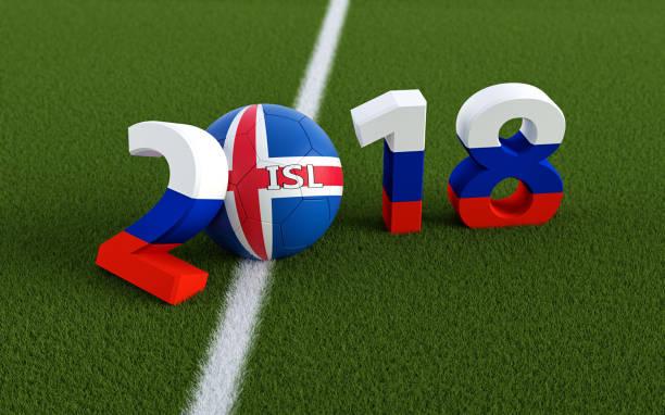 2018 nas cores da bandeira russa em um campo de futebol. Uma bola de futebol em conceituados cores nacionais representando o 0 em 2018. Renderização 3D - foto de acervo