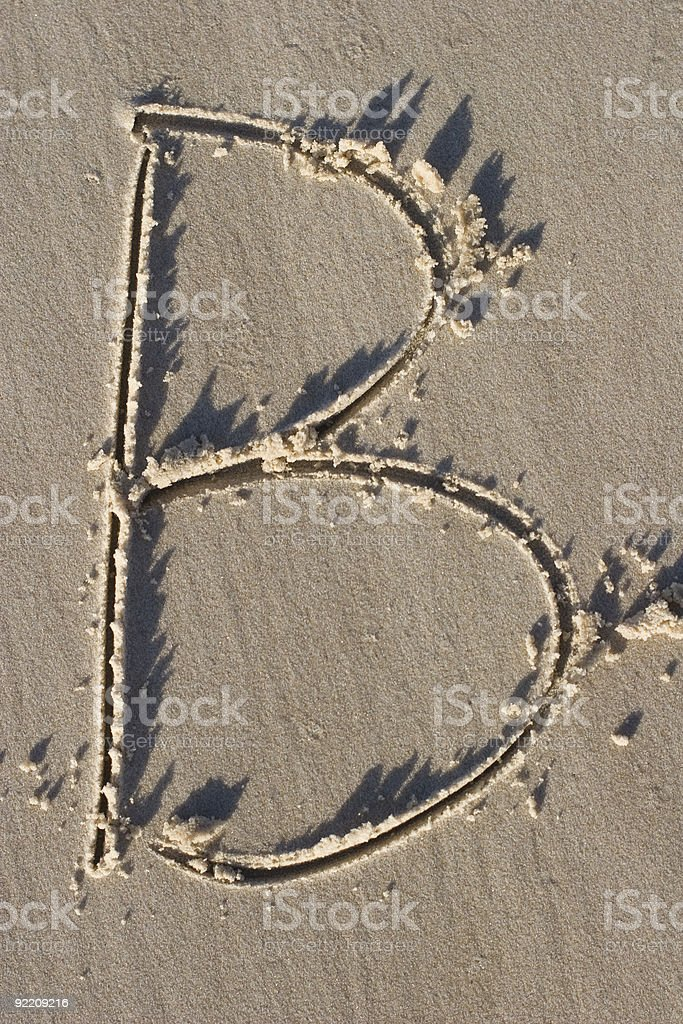 LETTER B in SAND royalty-free stock photo