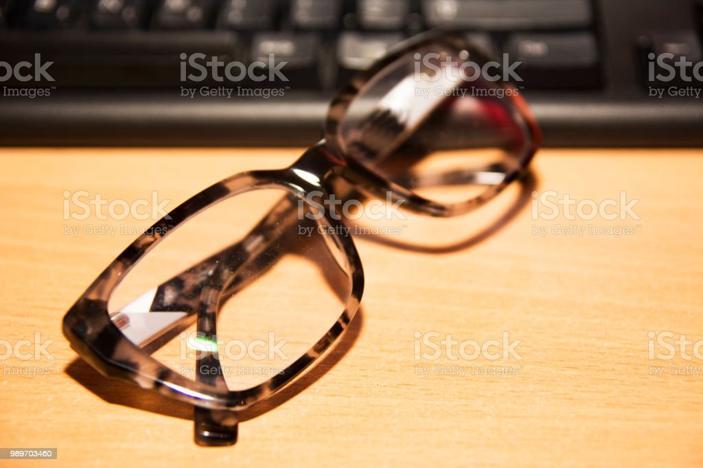 In Search for eyeglasses in office stock photo