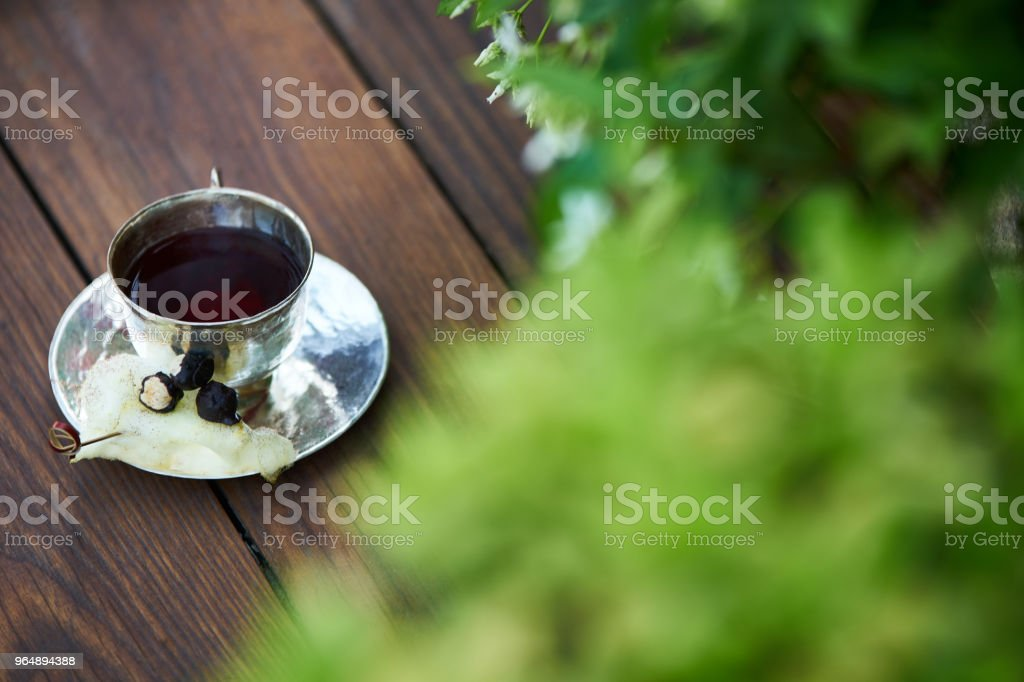 In silence cocktail on wooden table background royalty-free stock photo