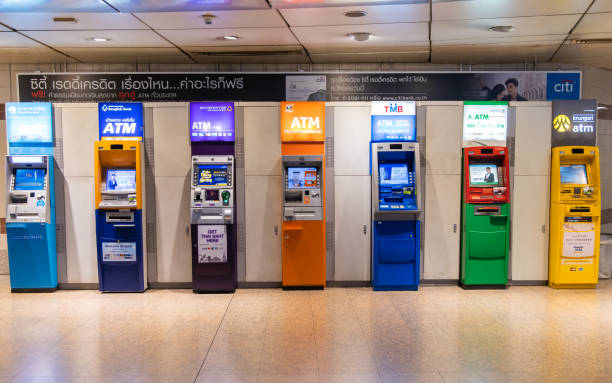 ATM (Automatic Teller Machine) in subway station in Bangkok ,Thailand. stock photo