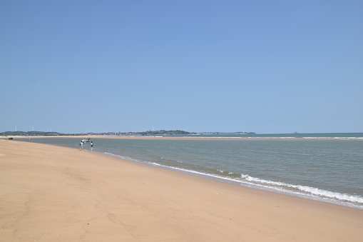 Summer beach, blue sky, sea and beach