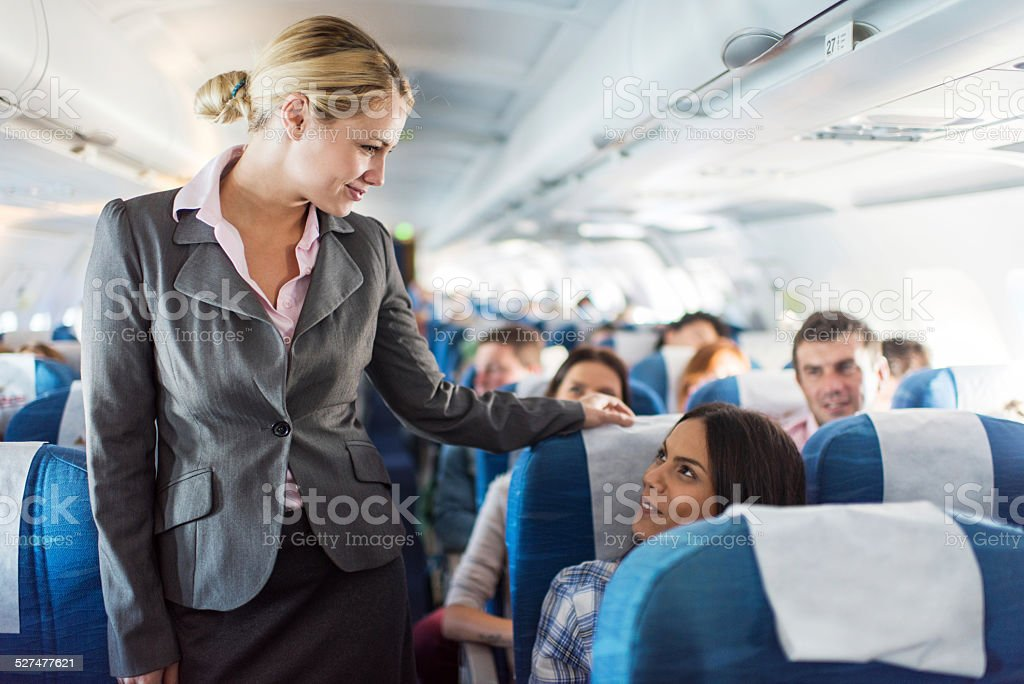 In the airplane. stock photo